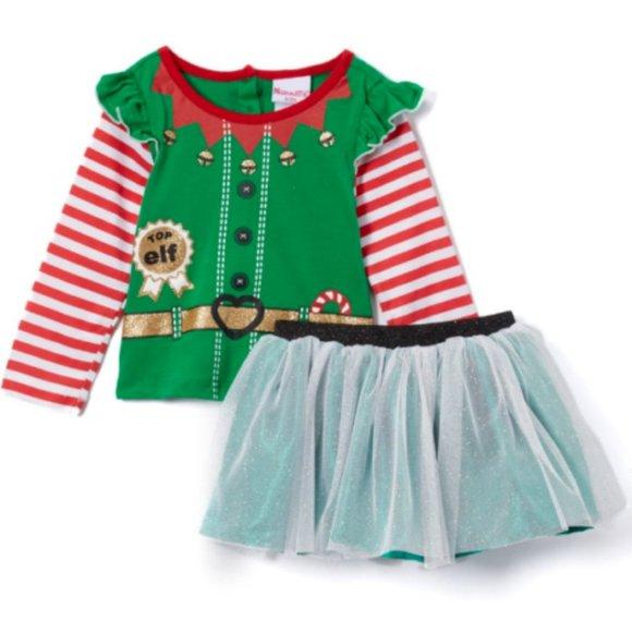 NEW Nannette Little Girls 2 Piece Top Elf Skirt 4T